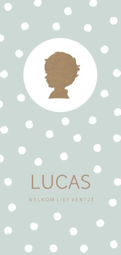 Geboortekaartjes - Geboortekaartje langwerpig silhouet jongetje