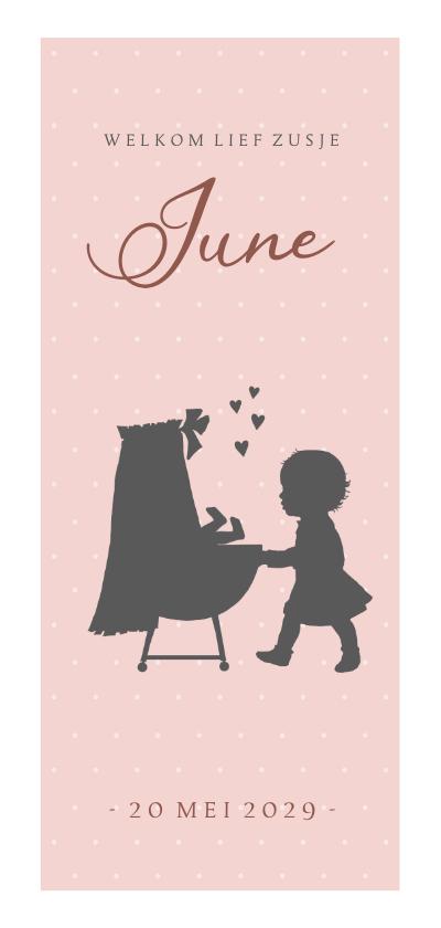 Geboortekaartjes - Geboortekaartje langwerpig wieg met zusje