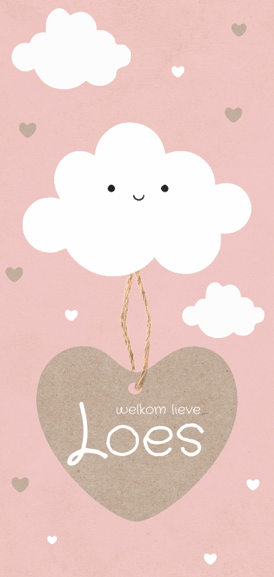 Geboortekaartjes - Geboortekaartje langwerpig wolken