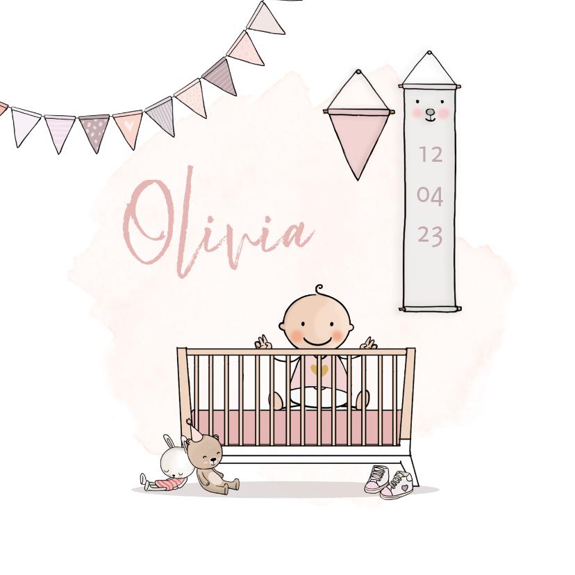 Geboortekaartjes - Geboortekaartje ledikant roze met baby