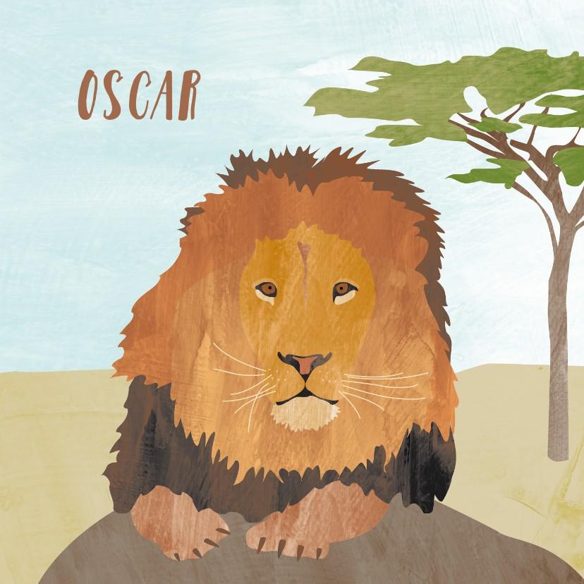 Geboortekaartjes - Geboortekaartje leeuw op savanne