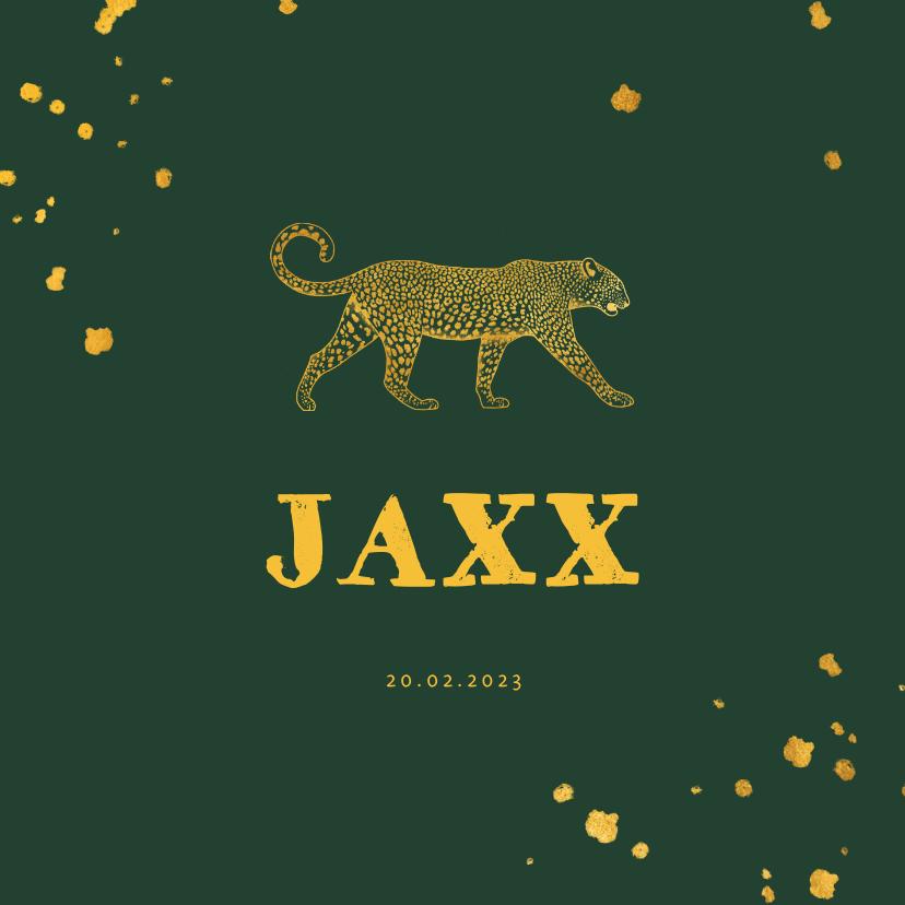 Geboortekaartjes - Geboortekaartje leopard goudlook met spetters