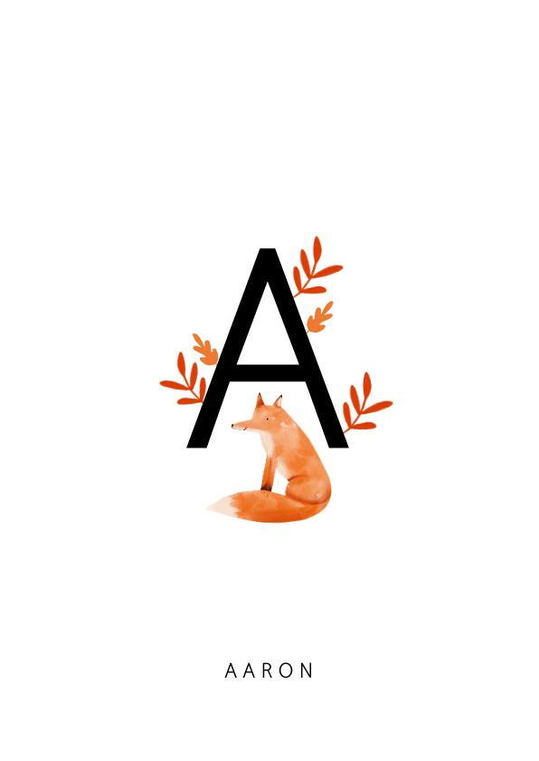 Geboortekaartjes - Geboortekaartje letter minimalistisch met vosje