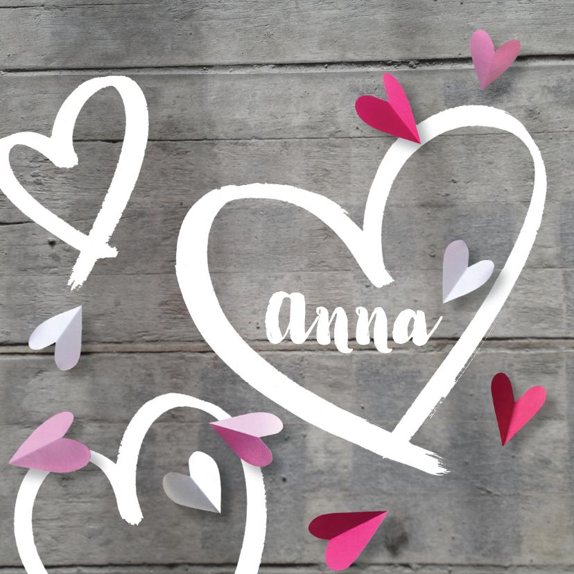 Geboortekaartjes - Geboortekaartje lief hart hout