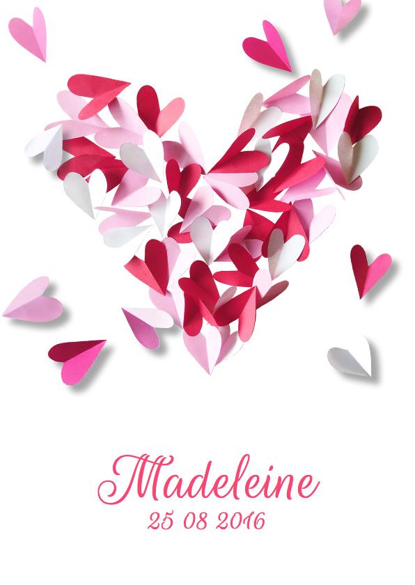 Geboortekaartjes - Geboortekaartje lief hart roze