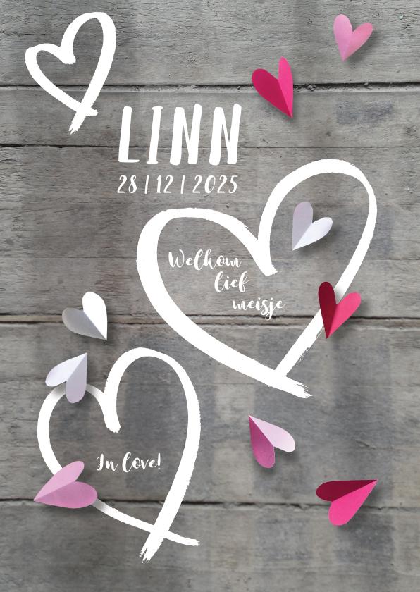 Geboortekaartjes - Geboortekaartje lief harten hout