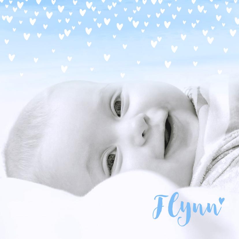Geboortekaartjes - Geboortekaartje lief hartjes aquarel foto lichtblauw