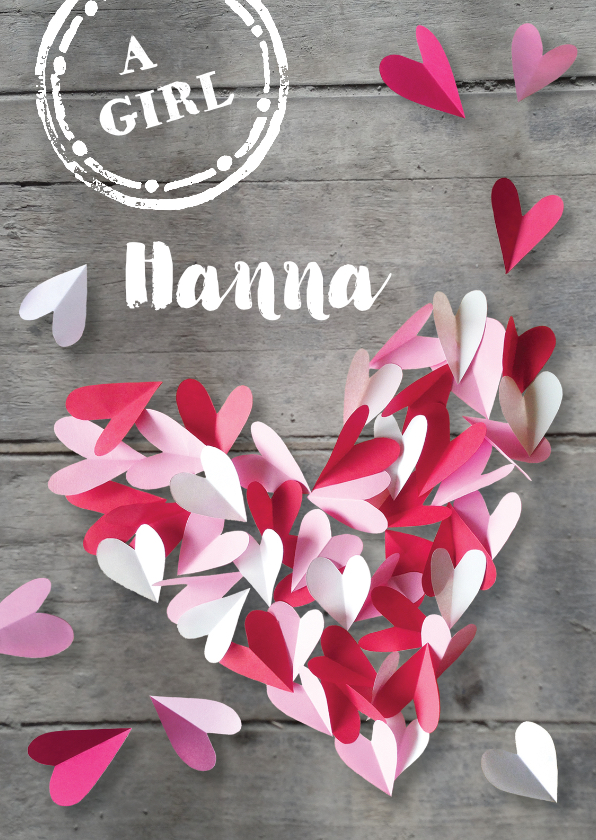 Geboortekaartjes - Geboortekaartje hout meisje roze hartjes