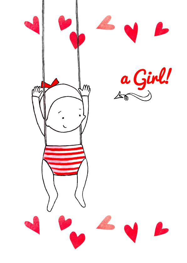 Geboortekaartjes - Geboortekaartje lief kindje hart