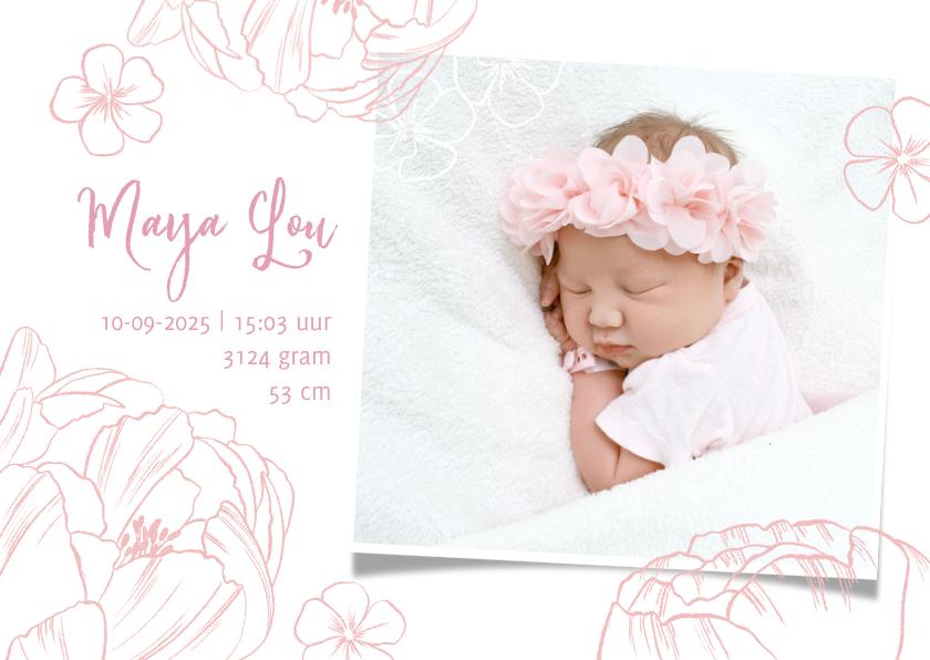 Geboortekaartjes - Geboortekaartje lief meisje foto & bloemen