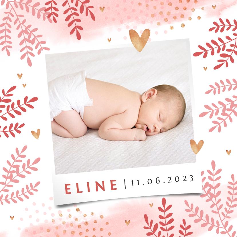 Geboortekaartjes - Geboortekaartje lief meisje foto hartjes goud blaadjes