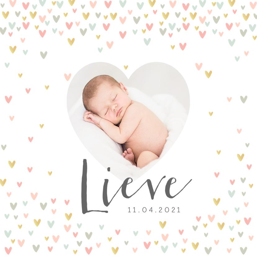 Geboortekaartjes - Geboortekaartje lief meisje met hartjesregen en foto's
