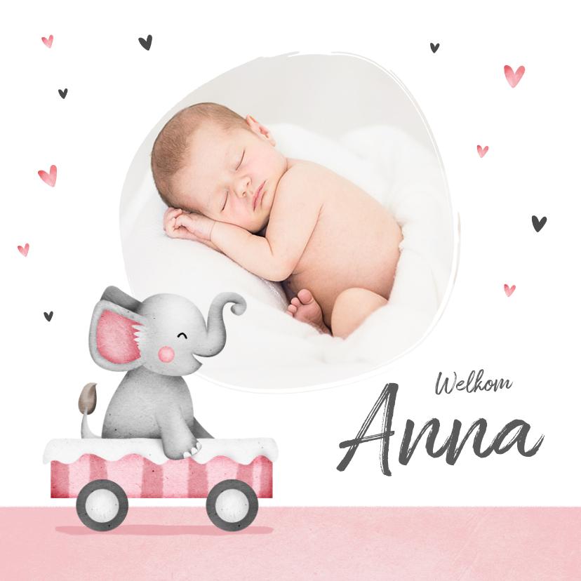 Geboortekaartjes - Geboortekaartje lief meisje olifant foto hartjes