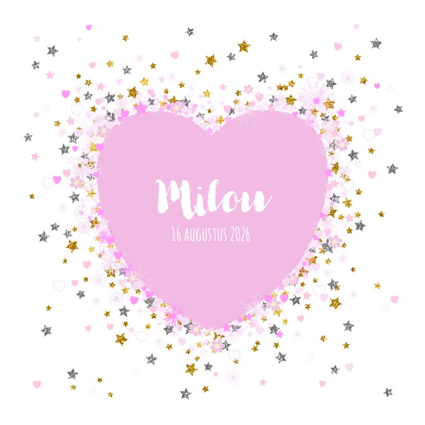 Geboortekaartjes - Geboortekaartje lief met hartjes sterretjes en bloemetjes