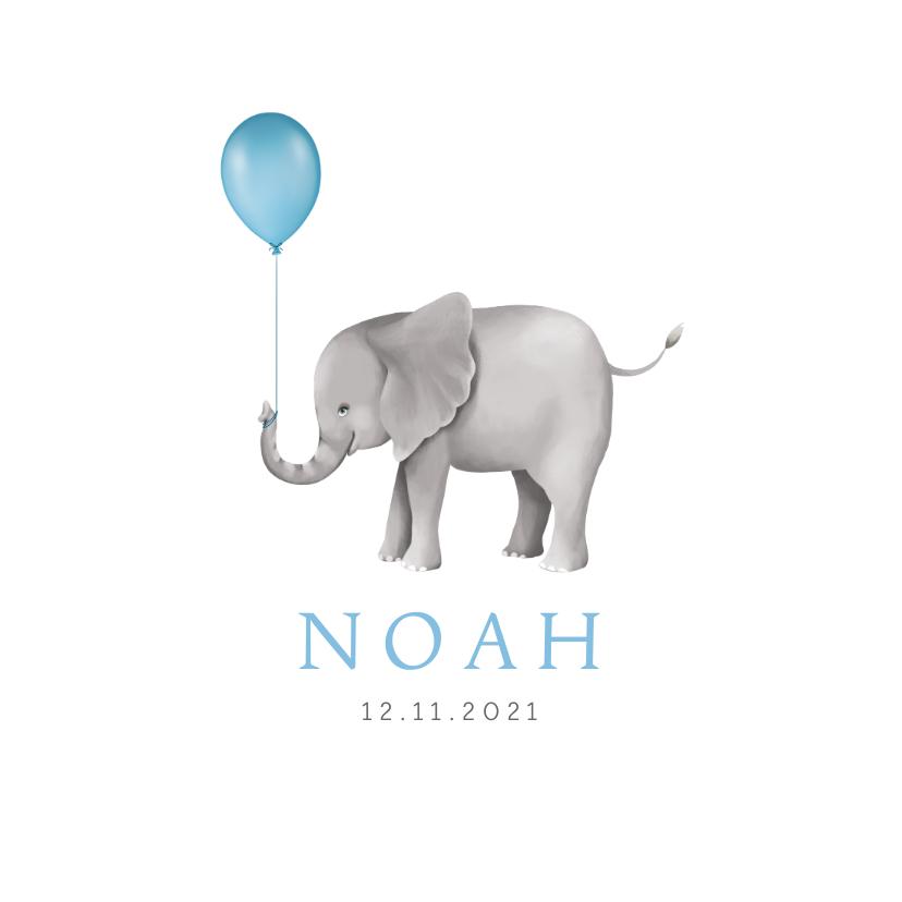 Geboortekaartjes - Geboortekaartje lief met olifantje en ballon voor een jongen