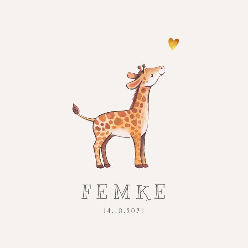 Geboortekaartjes - Geboortekaartje lief voor een jongen of meisje met girafje