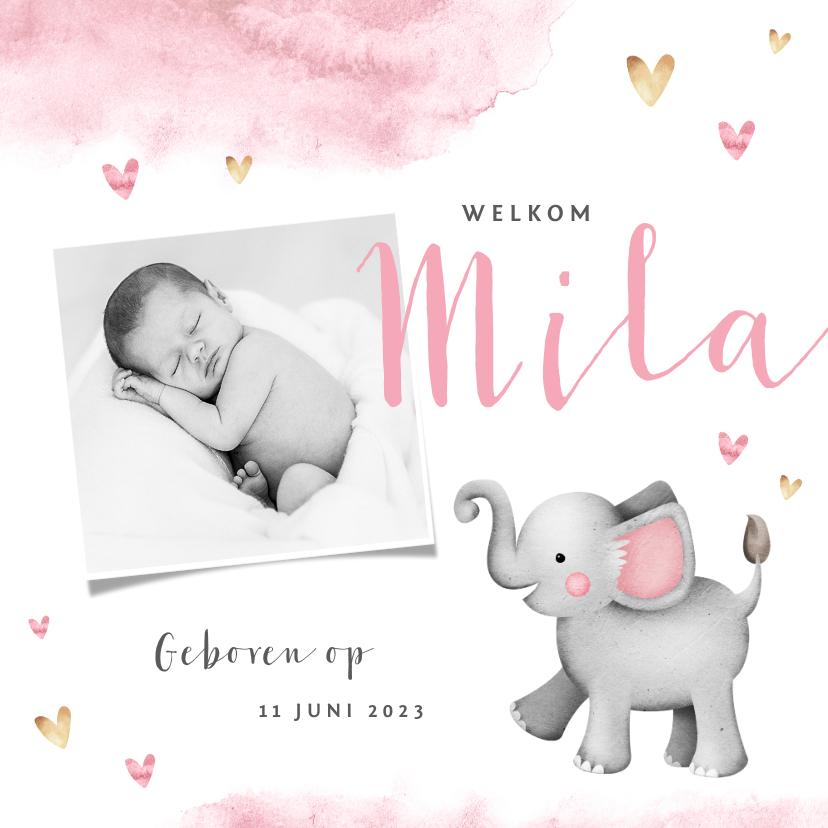 Geboortekaartjes - Geboortekaartje lief waterverf olifantje hartjes