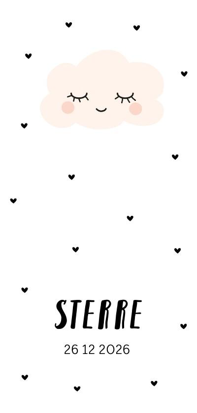 Geboortekaartjes - Geboortekaartje lief wolkje peach