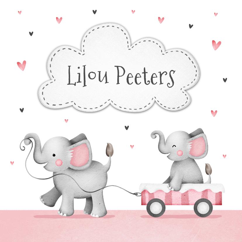 Geboortekaartjes - Geboortekaartje lief zusje olifantjes en hartjes