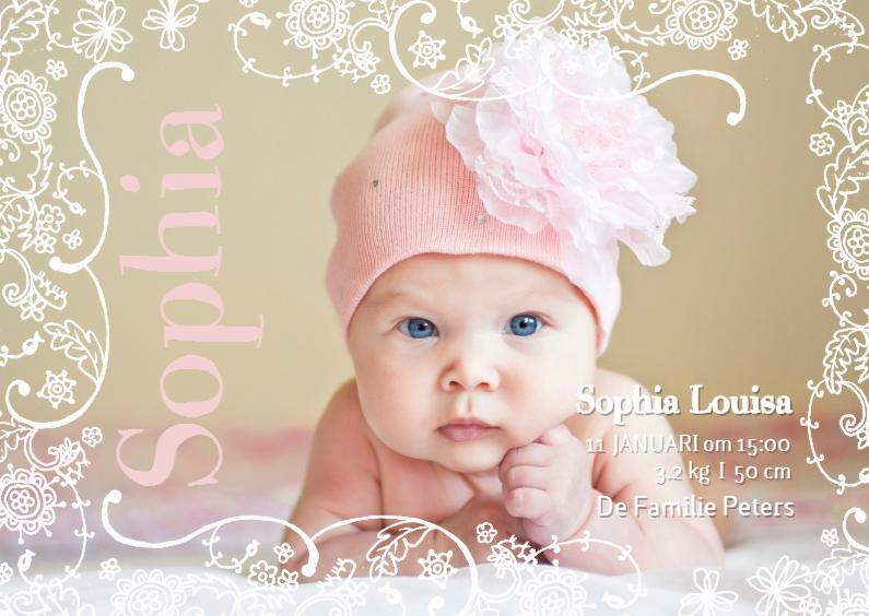Geboortekaartje Lijn Bloem Roze 1