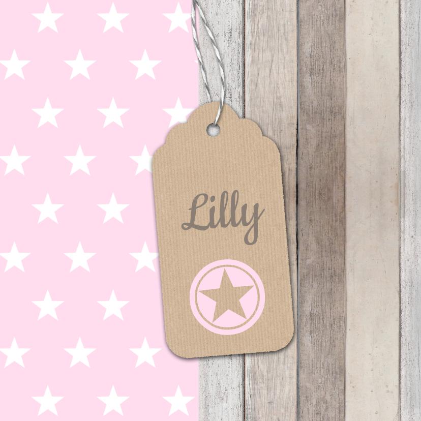 Geboortekaartjes - Geboortekaartje Lilly label ster