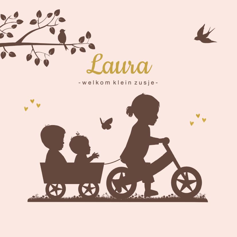 Geboortekaartjes - Geboortekaartje loopfiets zusje met baby