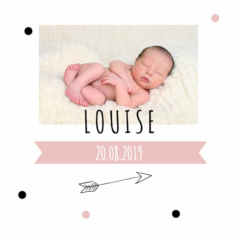 Geboortekaartjes - Geboortekaartje louise confetti