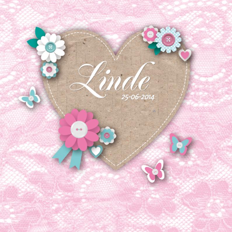 Geboortekaartjes - Geboortekaartje Lovely Heart Girl