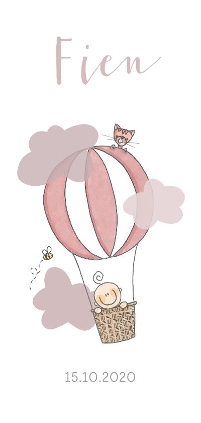 Geboortekaartjes - Geboortekaartje luchtballon meisje