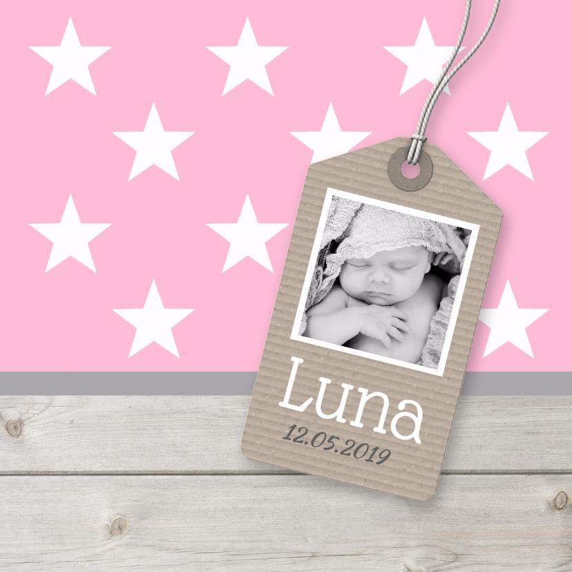 Geboortekaartjes - Geboortekaartje Luna label