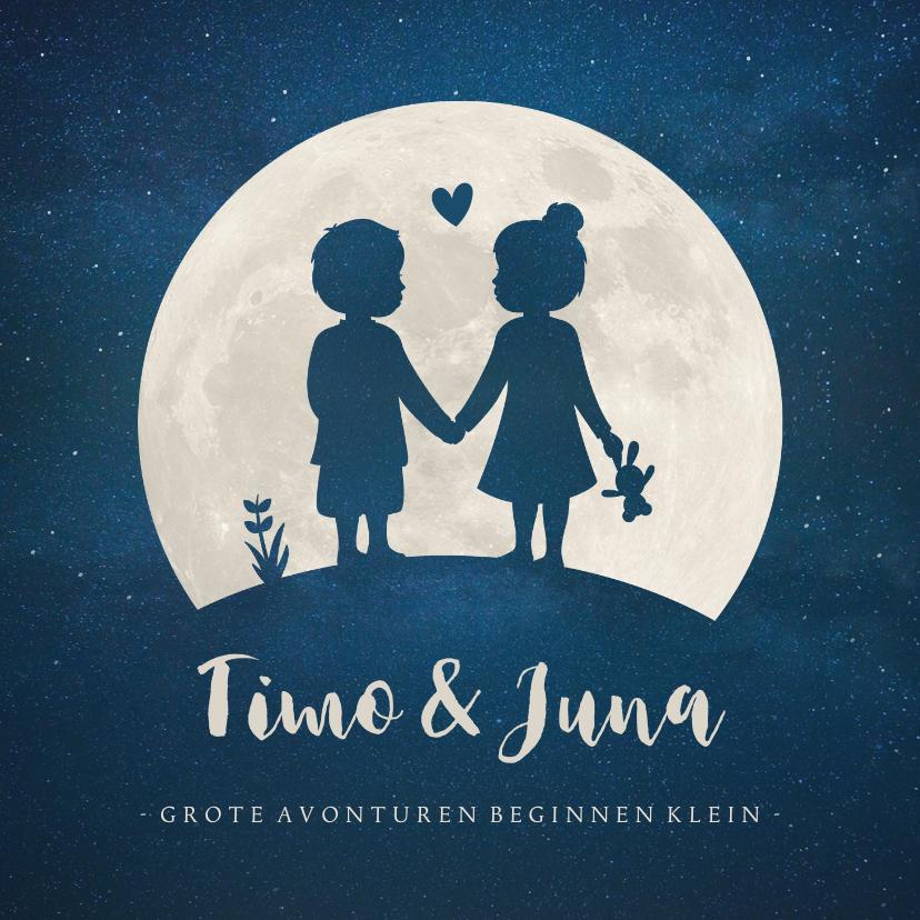 Geboortekaartjes - Geboortekaartje maan -  silhouet jongen en meisje tweeling