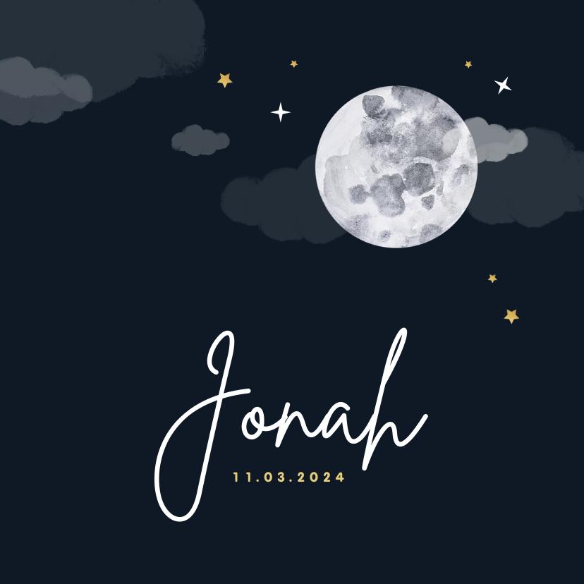 Geboortekaartjes - Geboortekaartje maan sterren goud wolken stijlvol