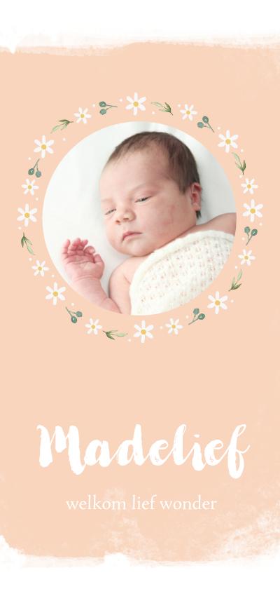 Geboortekaartjes - Geboortekaartje madelief met foto