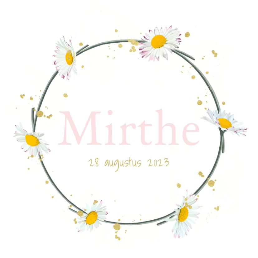Geboortekaartjes - Geboortekaartje madeliefjes krans
