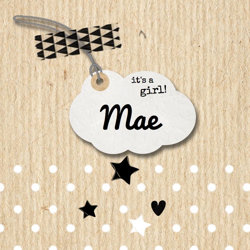 Geboortekaartjes - Geboortekaartje Mae kraft en labeltje- LO
