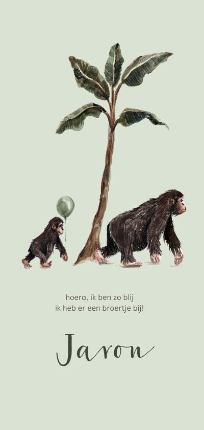Geboortekaartjes - Geboortekaartje mama aap met kleine aap en ballon