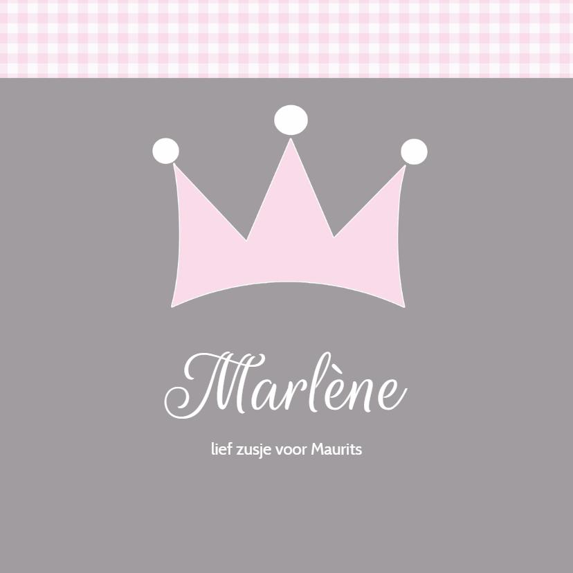 Geboortekaartjes - Geboortekaartje Marlene kroontje LW