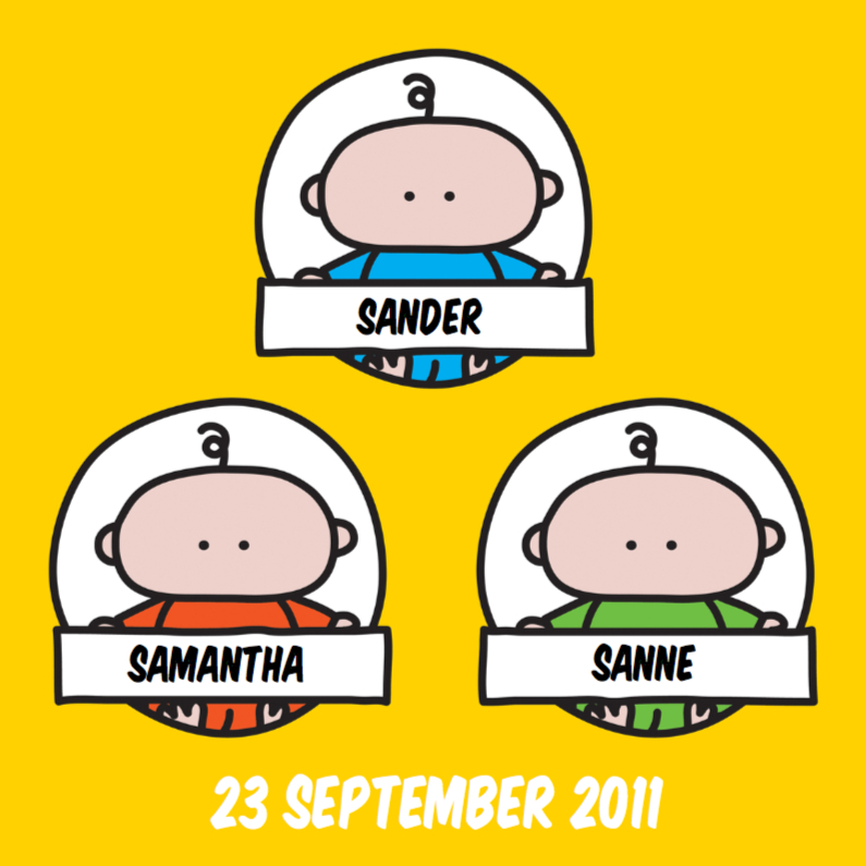 Geboortekaartjes - Geboortekaartje Meerling Cirkels