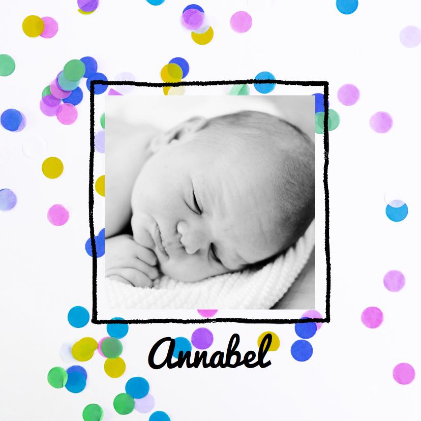 Geboortekaartjes - Geboortekaartje meid confetti