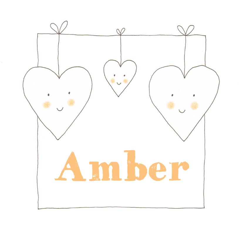 Geboortekaartjes - Geboortekaartje meisje 3 hartjes