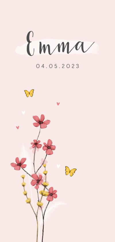 Geboortekaartjes - Geboortekaartje meisje bloemen lief hartjes bloemen vlinder