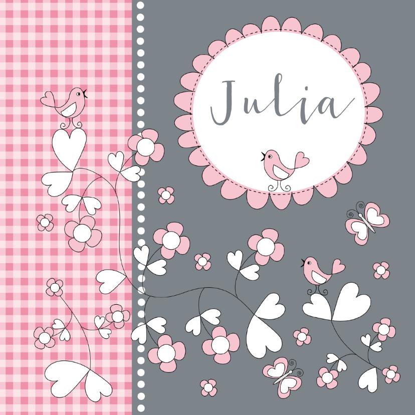 Geboortekaartjes - Geboortekaartje meisje bloemen