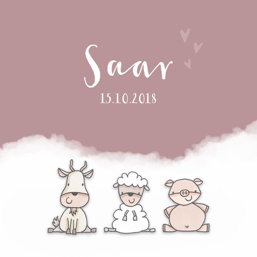 Geboortekaartjes - Geboortekaartje  meisje boerderijdieren