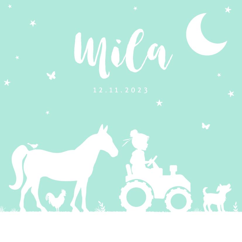 Geboortekaartjes - geboortekaartje meisje dieren boerderij tractor mint maan