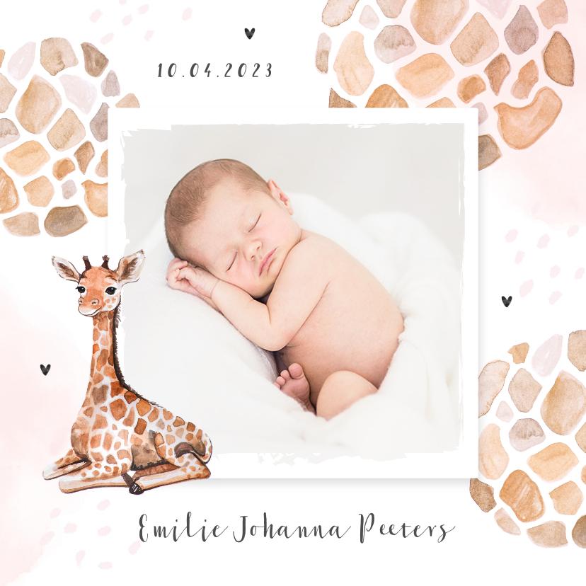 Geboortekaartjes - Geboortekaartje meisje dierenprint giraf foto