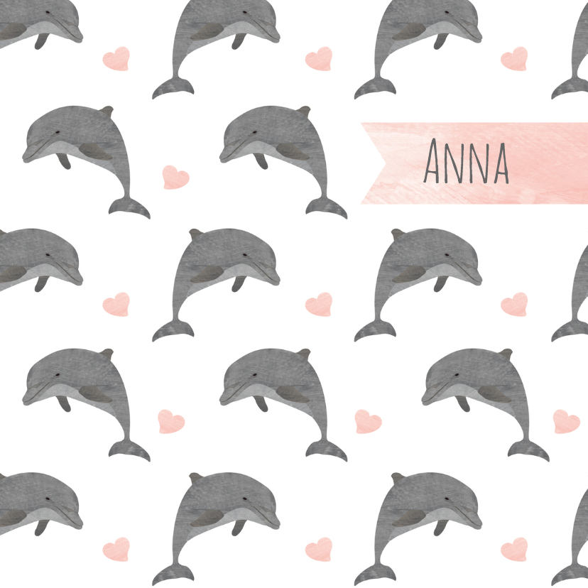 Geboortekaartjes - Geboortekaartje meisje dolfijnen