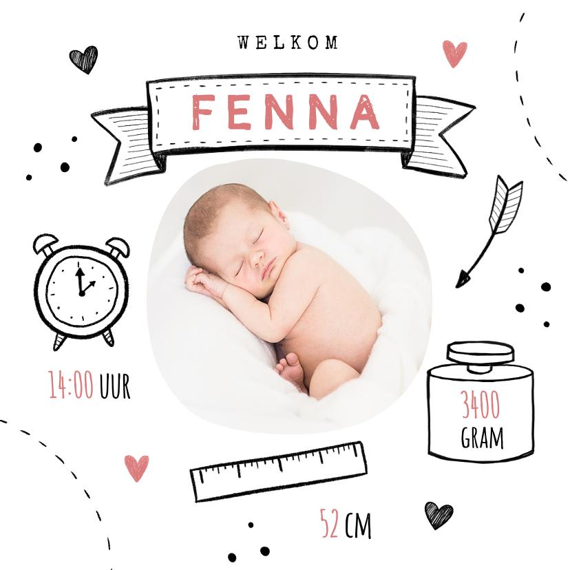 Geboortekaartjes - Geboortekaartje meisje doodle illustraties foto hartjes