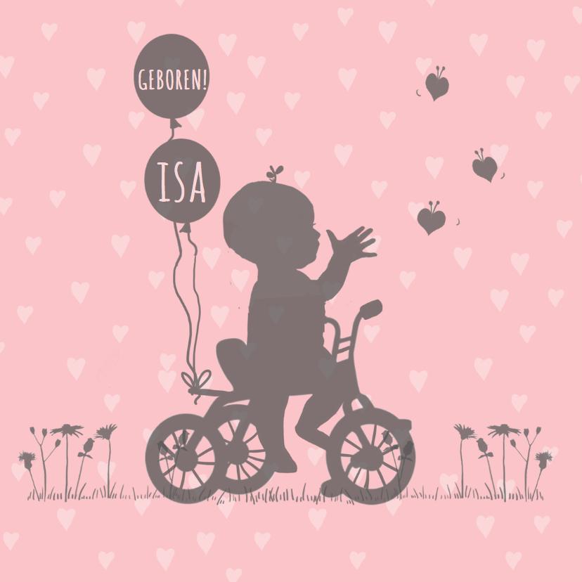 Geboortekaartjes - Geboortekaartje meisje fietsje a