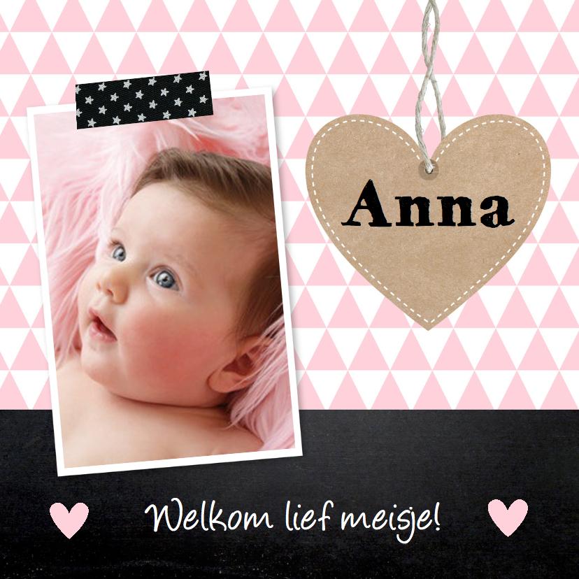 Geboortekaartjes - Geboortekaartje meisje foto hartje krijtbord