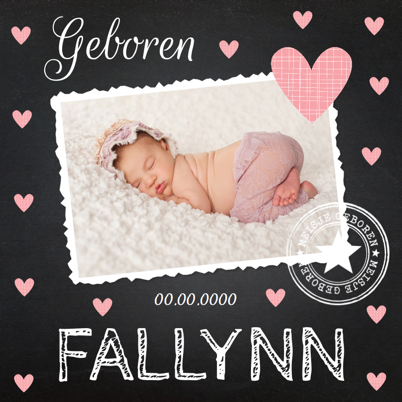 Geboortekaartjes - Geboortekaartje meisje foto hartjes krijtbord